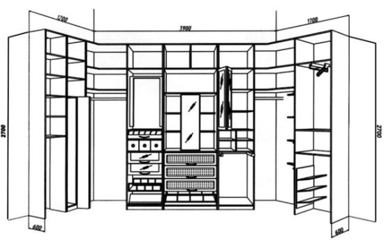 чертежи гардеробной комнаты